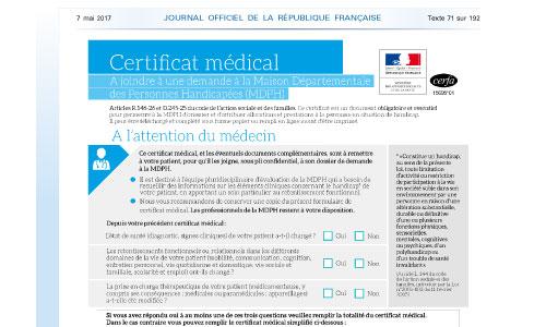 Demandes MDPH : un nouveau certificat médical