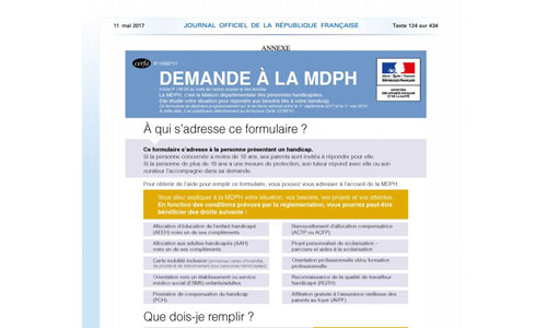 Démarches MDPH : nouveau formulaire le 1er sept 2017