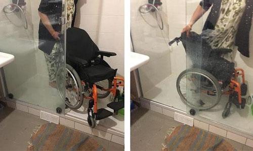 Douches accessibles avec une marche : cherchez l'erreur !