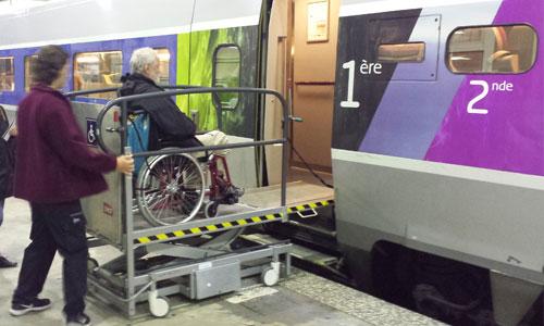 Fauteuil roulant trop large : privé de train ?