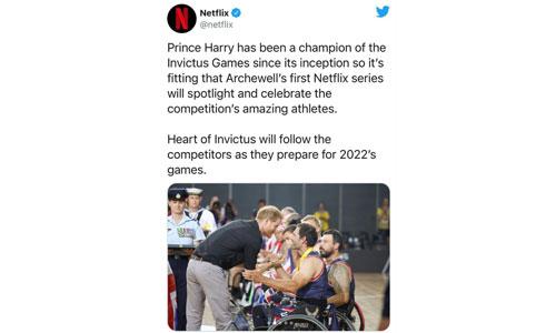 Prince Harry lance une série Netflix sur les soldats blessés