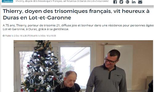 Thierry, 75 ans, le doyen des Français avec Trisomie 21 ?