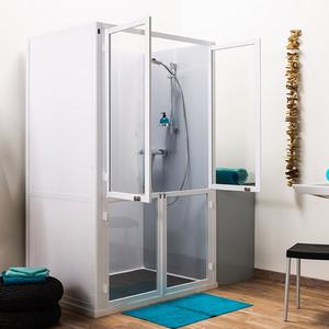 Cabine de douche accès  façade (4 demi portes pivotantes)