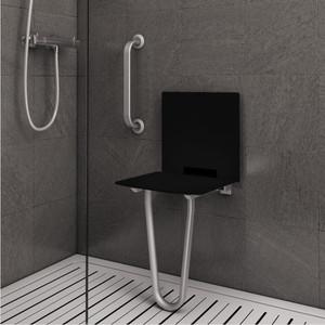 Siège de douche repliable avec support sol et dosseret (image 1)